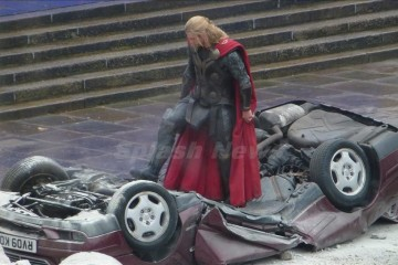 "Chris Hemsworth and Christopher Ecclestone battle it out on the set of ""Thor 2"", London, UK"