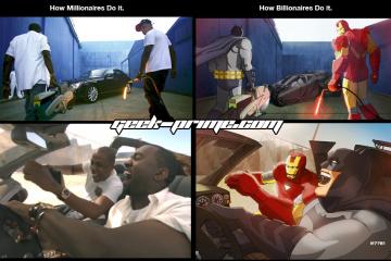 Iron-Man-Batman have fun