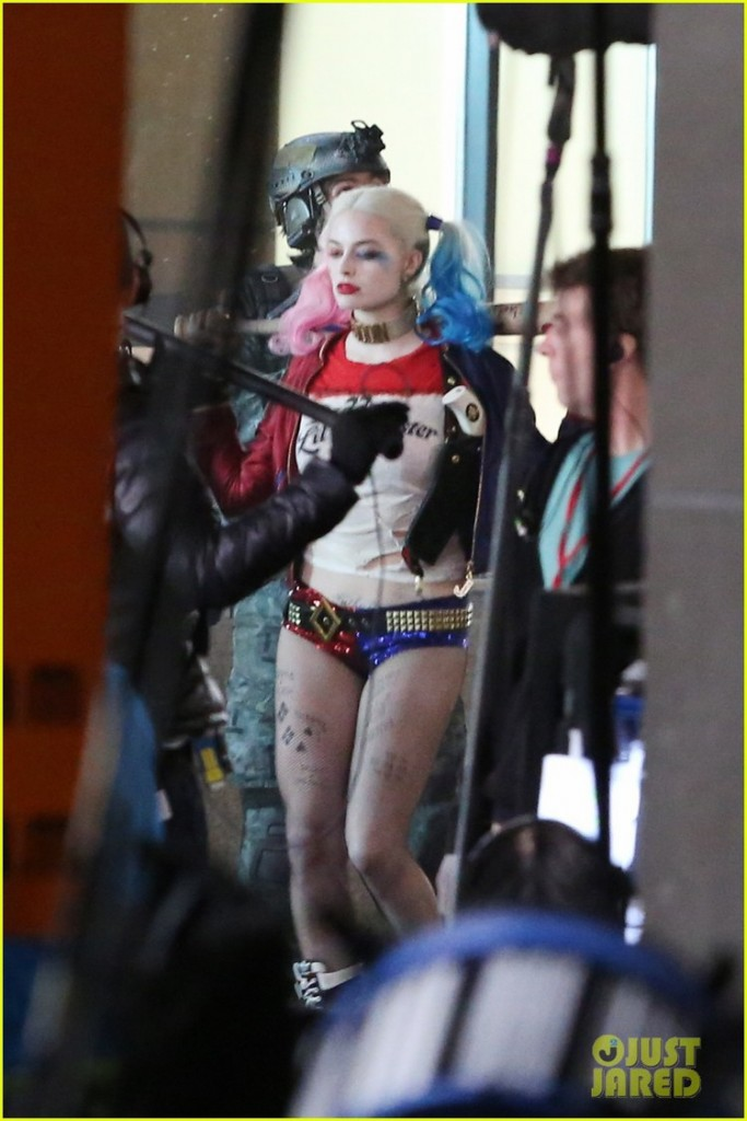 Will Smith, Margot Robbie, Jai Courtney, Jay Hernandez in costume on the set of 'Suicide Squad' in Toronto, Canada