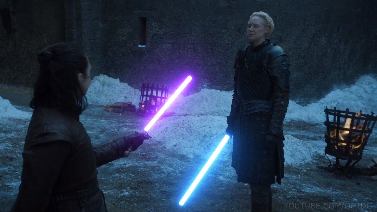 Arya and Brienne duel with lightsabers in GOT fan Edit